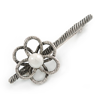 Vintage Inspired Thin Floral Barrette Hair Clip Grip Aged Silver Tone - 75mm Across