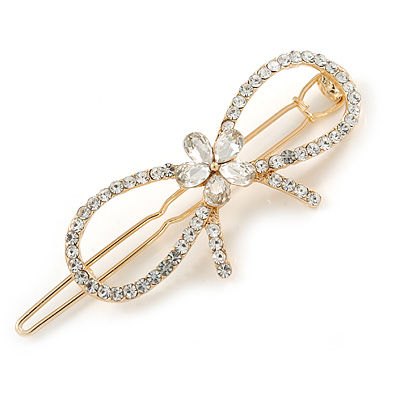 Gold Plated Clear Crystal Open Bow Hair Slide/ Grip - 55mm Across