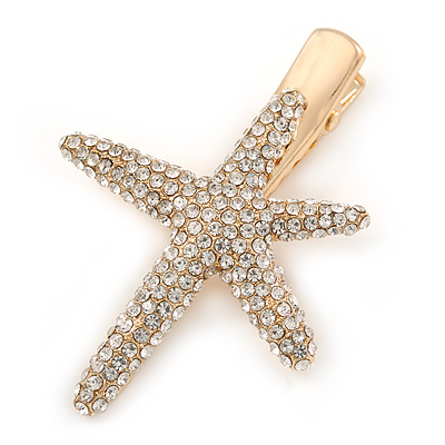 Clear Crystal Starfish Hair Beak Clip/ Concord Clip/ Clamp Clip In Gold Tone - 65mm L
