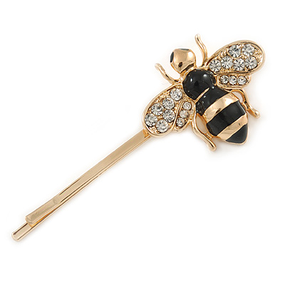 Cute Crystal Bee Hair Grip/ Slide In Gold Plating - 55mm Across