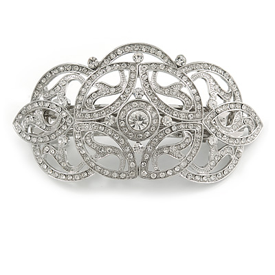 Bridal/ Wedding/ Prom/ Party Art Deco Style Rhodium Plated Austrian Crystal Barrette Hair Clip Grip - 90mm Across