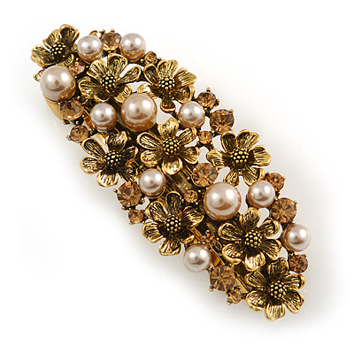 Vintage Inspired Caramel Faux Pearl, Topaz Crystal Floral Barrette Hair Clip Grip In Aged Gold Tone Finish - 85mm Across
