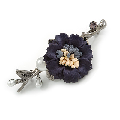 Vintage Inspired Blue Fabric Flower with White Faux Pearl Barrette Hair Clip Grip In Gun Metal Finish - 80mm Across