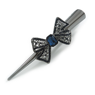 Large Midnight Blue Crystal Bow Hair Beak Clip/ Concord Clip In Black Tone - 13cm Length