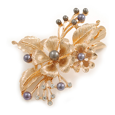 Large Floral with Grey Faux Pearl Bead, Clear Crystal Hair Beak Clip/ Concord Clip In Rose Gold Tone - 80mm L