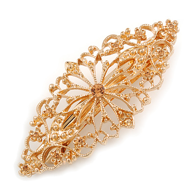 Floral Filigree Shampagne Crystal Barrette Hair Clip Grip In Rose Gold Tone Finish - 85mm Across