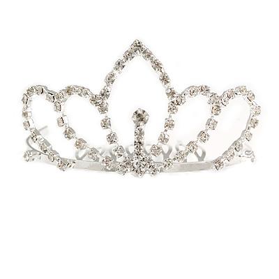 Fairy Princess Bridal/ Wedding/ Prom/ Party Silver Tone Crystal Mini Hair Comb Tiara - 75mm