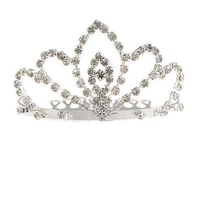 Fairy Princess Bridal/ Wedding/ Prom/ Party Silver Tone Crystal Mini Hair Comb Tiara - 70mm