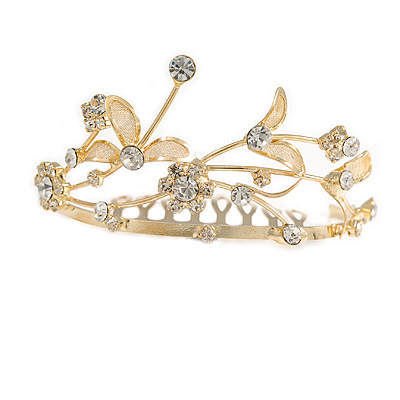 Fairy Princess Bridal/ Wedding/ Prom/ Party Gold Tone Clear Crystal Mini Hair Comb Tiara - 70mm