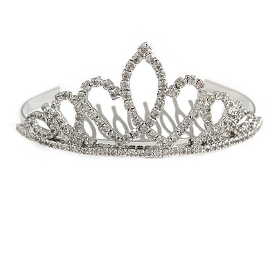 Fairy Princess Bridal/ Wedding/ Prom/ Party Silver Tone Crystal Mini Hair Comb Tiara - 85mm