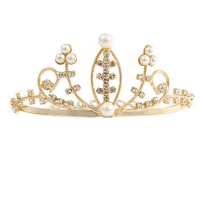 Fairy Princess Bridal/ Wedding/ Prom/ Party Gold Tone Clear Crystal and White Simulated Pearl Mini Hair Comb Tiara - 80mm