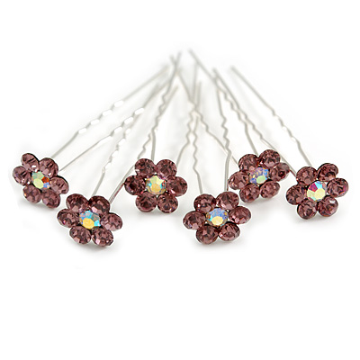 Bridal/ Wedding/ Prom/ Party Set Of 6 Plum/ Purple Austrian Crystal Daisy Flower Hair Pins In Silver Tone