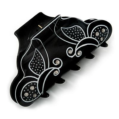 Medium Black/ White Butterfly Motif Acrylic Hair Claw/ Hair Clamp - 9cm Across