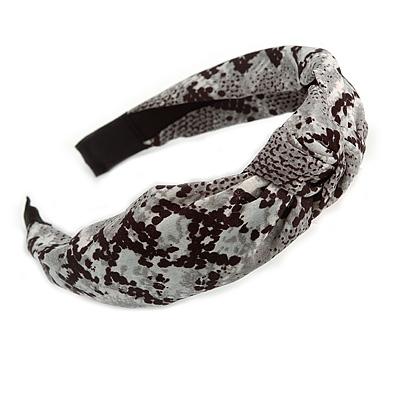 Snake Print Fabric Flex HeadBand/ Head Band in Black/ Grey