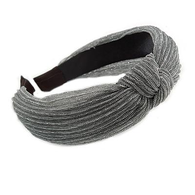 Grey with Silver Thread Fabric Flex HeadBand/ Head Band