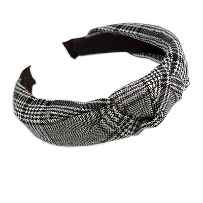 Checked Fabric Flex HeadBand/ Head Band in Black/ White