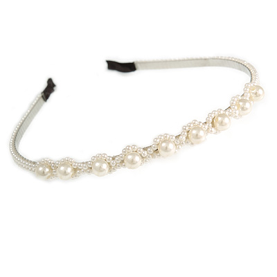 Bridal/ Prom/ Wedding Light Cream Faux Pearl Flex Hair Band/ Headband in Silver Tone Metal - Adjustable