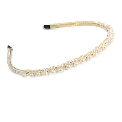 Bridal/ Prom/ Wedding Light Cream Faux Pearl Flex Hair Band/ Headband in Gold Tone Metal - Adjustable