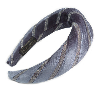Retro Thicken Padded Velvet Glitter Stripes Wide Chunky Hair Band/ HeadBand/ Alice Band in Blue Grey