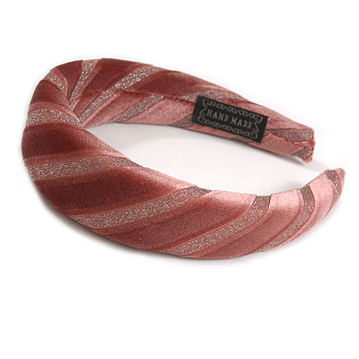 Retro Thicken Padded Velvet Glitter Stripes Wide Chunky Hair Band/ HeadBand/ Alice Band in Pink Blush