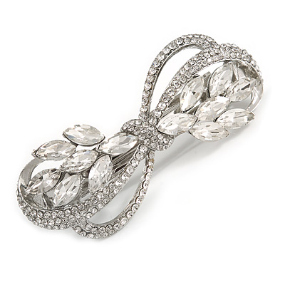 Bridal Wedding Prom Silver Tone Diamante Bow Barrette Hair Clip Grip - 85mm Across