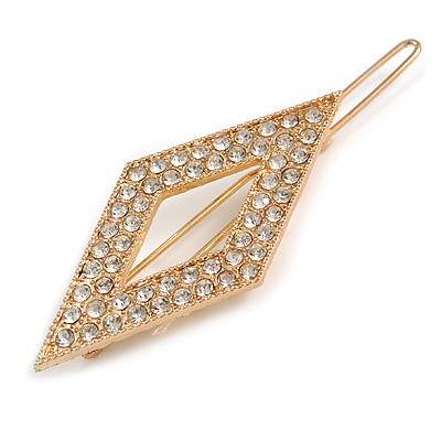 Small Gold Tone Clear Crystal Diamond Hair Slide/ Grip - 60mm Across