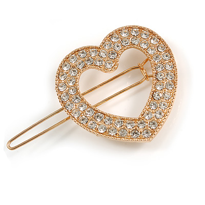 Small Gold Tone Clear Crystal Heart Hair Slide/ Grip - 50mm Across - main view