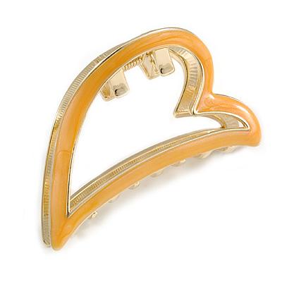 Gold Tone Yellow Enamel Open Heart Hair Claw/ Clamp - 65mm Across