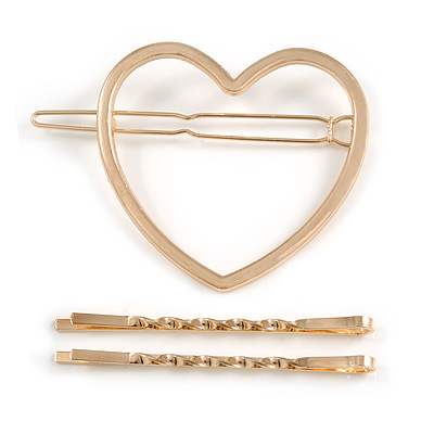 Set Of Twisted Hair Slides and Open Heart Hair Slide/ Grip In Gold Tone Metal