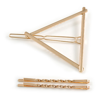 Set Of Twisted Hair Slides and Open Triangular Hair Slide/ Grip In Gold Tone Metal