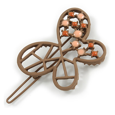 Taupe Brown Butterfly Hair Slide/ Grip - 50mm Across