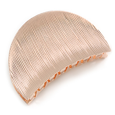 Rose Gold Tone Metal Scratched Crescent Hair Claw/ Clamp - 60mm Across