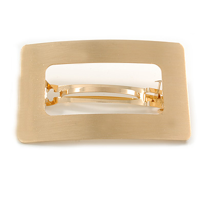 Gold Tone Satin Finish Large 'Buckle' Square Barrette Hair Clip Grip - 80mm Across