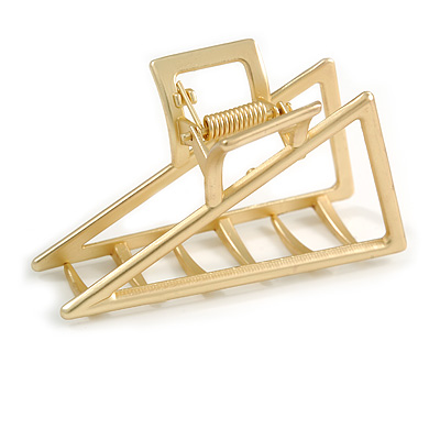 Matte Gold Tone Geometric Triangular Hair Claw/ Clamp - 75mm Across