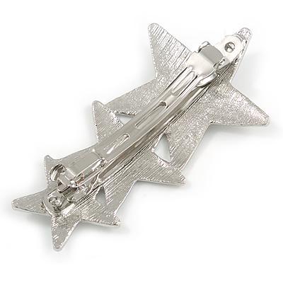 Cz Star Avalaya Elegant Clear Crystal 18cm L Glass Pearl Bangle Bracelet in Rhodium Plating