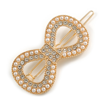 Gold Tone Clear Crystal Cream Faux Pearl Bow Hair Slide/ Grip - 60mm Across