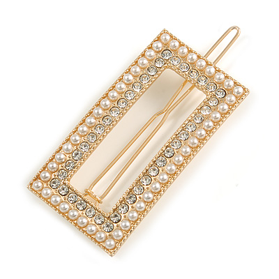 Gold Tone Clear Crystal Cream Faux Pearl Square Hair Slide/ Grip - 60mm Across