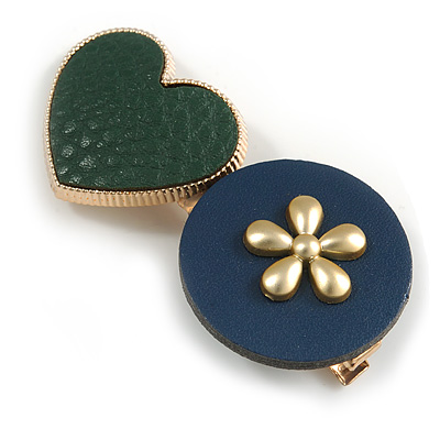 Romantic Gold Tone PU Leather Heart and Flower Hair Beak Clip/ Concord Clip (Dark Blue/ Green) - 60mm L