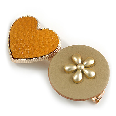 Romantic Gold Tone PU Leather Heart and Flower Hair Beak Clip/ Concord Clip (Mustard Yellow/ Beige) - 60mm L