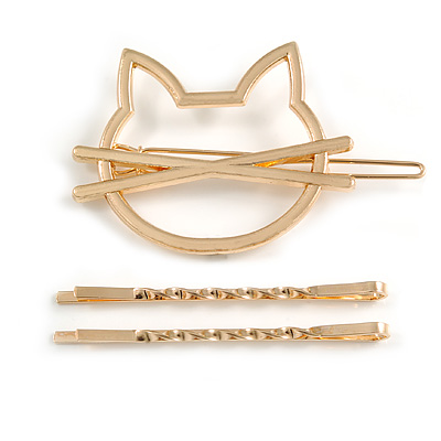 Set Of Twisted Hair Slides and Open Kitty Hair Slide/ Grip In Gold Tone Metal