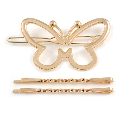 Set Of Twisted Hair Slides and Open Butterfly Hair Slide/ Grip In Gold Tone Metal