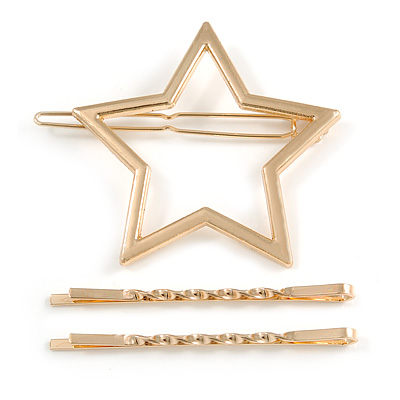 Set Of Twisted Hair Slides and Open Star Hair Slide/ Grip In Gold Tone Metal