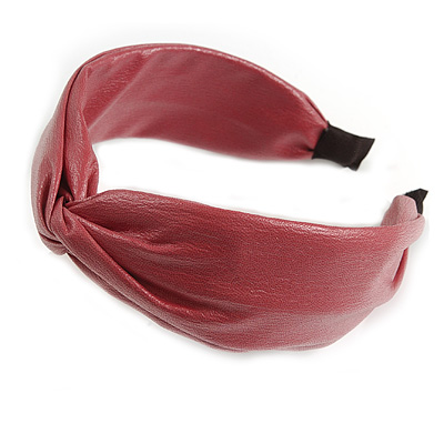 Raspberry Faux Leather Wide Chunky Flex HeadBand/ Head Band
