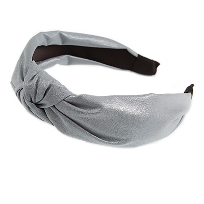 Wide Chunky Metallic Silver PU Leather, Faux Leather Knot Hair Band/ HeadBand/ Alice Band