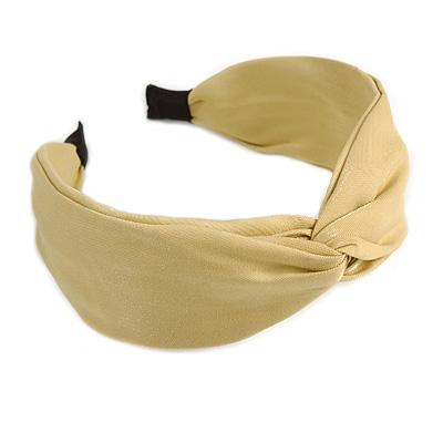 Pastel Yellow Sateen Fabric Wide Chunky Flex HeadBand/ Head Band