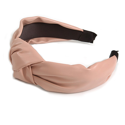Wide Chunky Pastel Pink PU Leather, Faux Leather Knot Hair Band/ HeadBand/ Alice Band