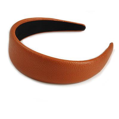 Tan Wide Chunky PU Leather, Faux Leather Hair Band/ HeadBand/ Alice Band