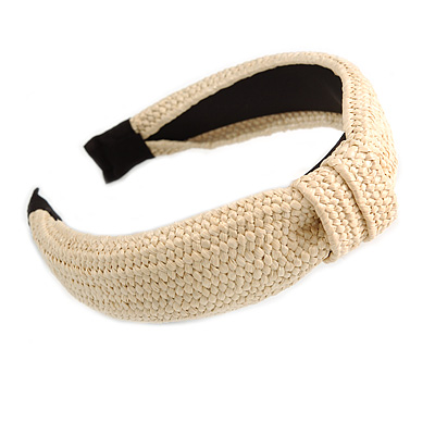 Fashion Braid Straw Style Flex HeadBand/ Head Band, Hairband in Light Cream