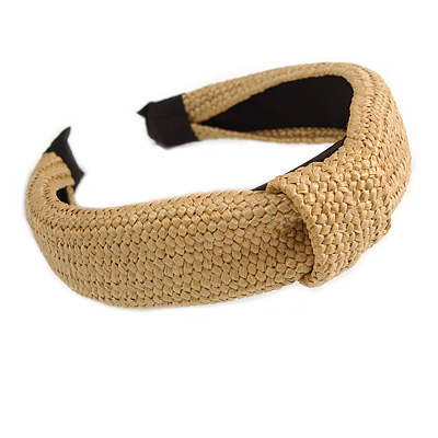 Fashion Braid Straw Style Flex HeadBand/ Head Band, Hairband in Beige