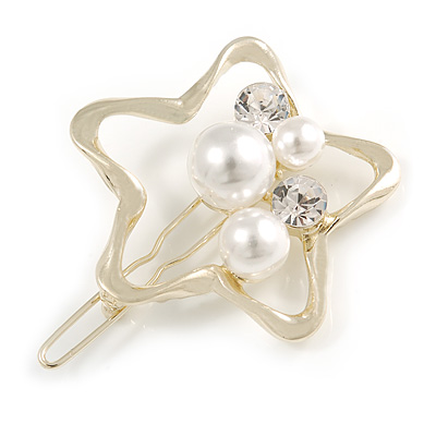 Gold Tone White Glass Pearl Bead Clear Crystal Open Star Hair Slide/ Grip - 45mm Across